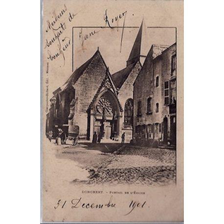 Carte postale 08 - Donchery - Portail de l'eglise - Voyage - Dos non divise...