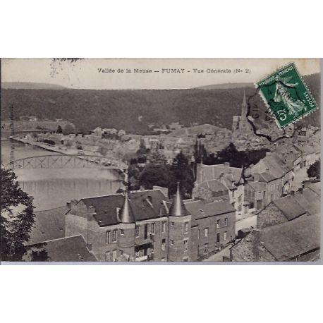 Carte postale 08 - Fumay - Vallee de la Meuse - Vue generale - Voyage - Dos divise...
