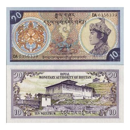 Billet de collection Bhoutan Pk N° 15 - 10 Ngultrums