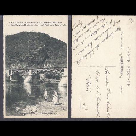 Carte postale 08 - Les Huates Rivieres - Le grand pont et la cote d'Enfer - Pecheur