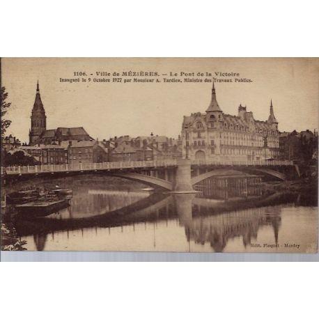 Carte postale 08 - Meziere - Le pont de la Victoire - Voyage - Dos divise...