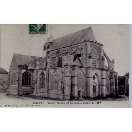 Carte postale 10 - Chaource - Eglise - Monument historique datant de 1307 - Voyage - Dos d...
