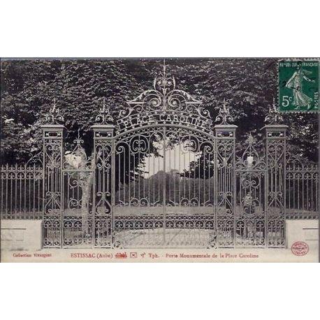 Carte postale 10 - Estissac ( Aube ) Porte Monumentale de la place Caroline - Voyage - Dos