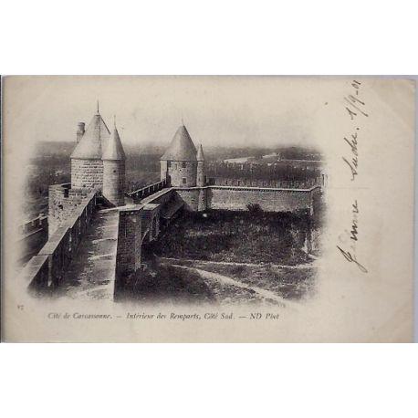 Carte postale 11 - Cite de Carcassonne - Interieur des remparts, cote Sud - Voyage - Dos n...