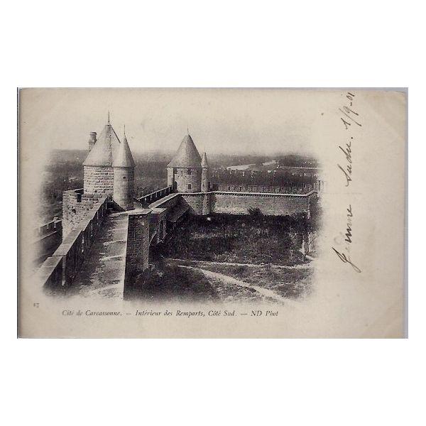 Carte postale 11 - Cite de Carcassonne - Interieur des remparts, cote Sud - Voyage - Dos n ...