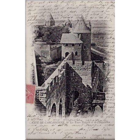 Carte postale 11 - Cite de Carcassonne - Les Tours visigotb et de l'inquisition - Voyage -...