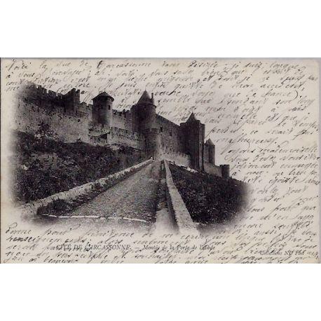 11 - Cite de Carcassonne - Montee de la porte de l'Aude - Voyage - Dos non d...