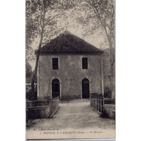 Carte postale 11 - Hopital de Campagne - 1ere division - Voyage - Dos divise...