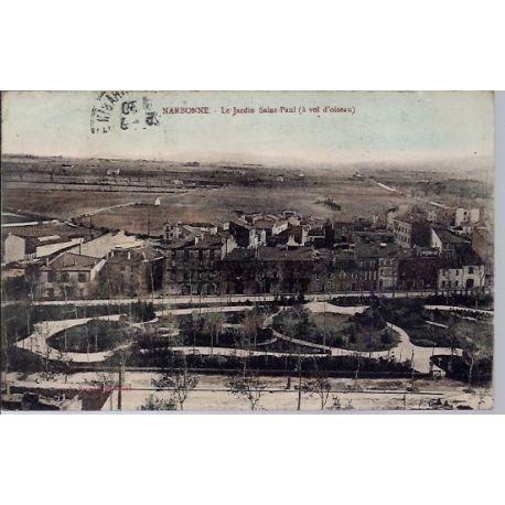 Carte postale 11 - Narbonne - Le jardin Saint-Paul ( a vol d'oiseau) - Voyage - Dos divise...