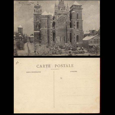 Carte postale 11 - Rodez sous la Neige - La cathedrale
