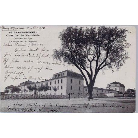 Carte postale 11 -Carcassonne - Quartier de Cavalerie - Voyage - Dos divise...