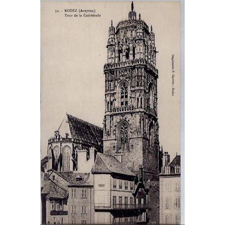 Carte postale 12 - Rodez - Tour de la cathedrale - Non voyage - Dos divise...