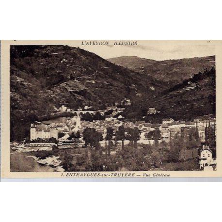 Carte postale 12- Entraygues-sur-Truyere - Vue generale - Non voyage - Dos divise...