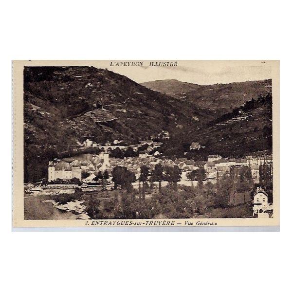 Carte postale 12 entraygues sur truyere vue generale for Porte carte postale sur pied