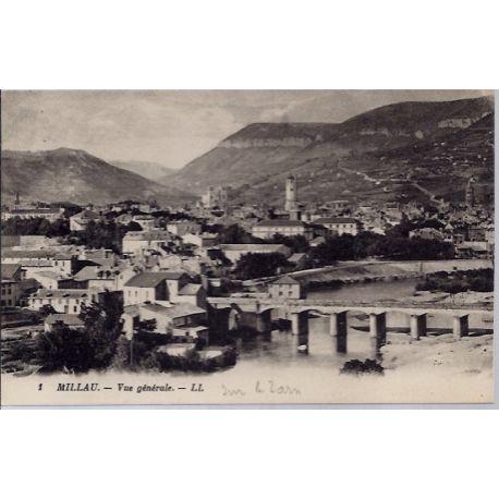 Carte postale 12- Millau - Vue generale - Non voyage - Dos divise...