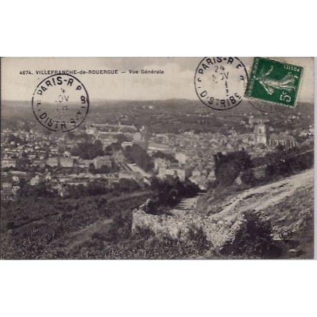 Carte postale 12- Villefranche-de-Rouergue - Vue generale - Voyage - Dos divise...