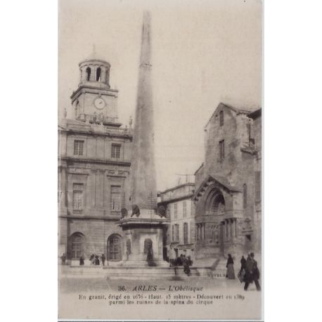 13 - Arles - L' Obelisque - En granit, erige en 1676 - Non voyage - Dos divi...