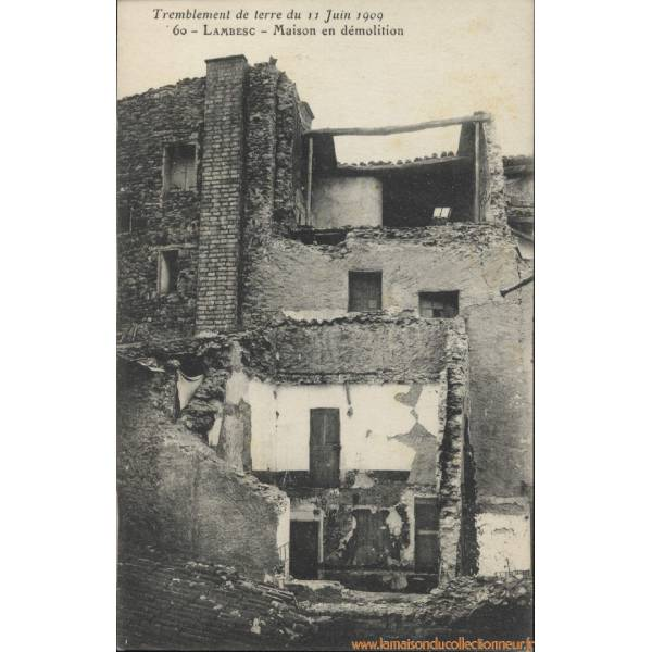 carte postale 13 lambesc maison en demolition tremblement de 1909. Black Bedroom Furniture Sets. Home Design Ideas