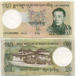 Los billetes de banco Bhután Pick número 30 - 20 Ngultrum 2006