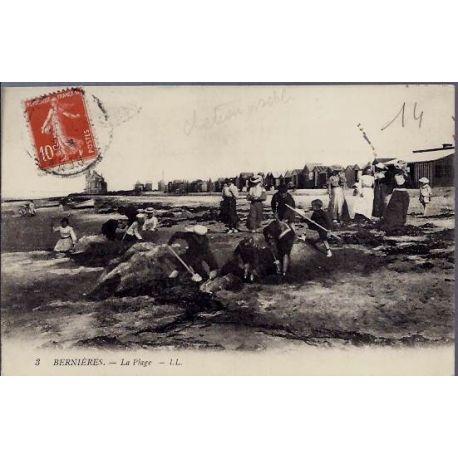 Carte postale 14 - Bernieres - La plage - Voyage - Dos divise