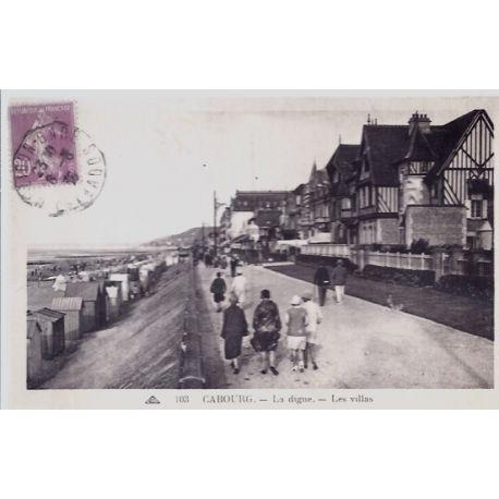 Carte postale 14 - Cabourg - La digue - Les villas - Voyage - Dos divise...