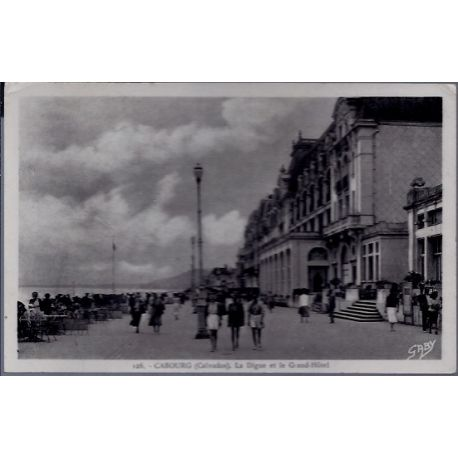 Carte postale 14 - Cabourg - La digue et le Grand-Hotel- Voyage - Dos divise...