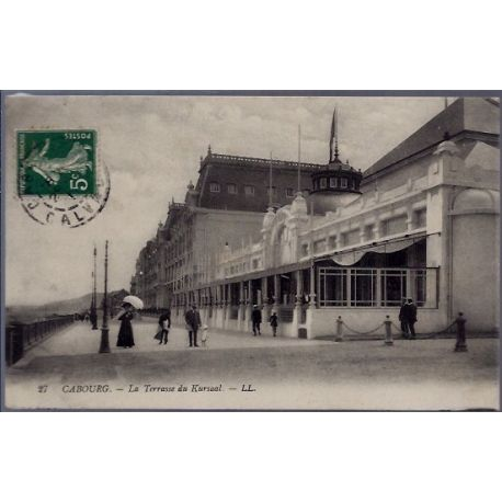 Carte postale 14 - Cabourg - La terrasse du Kursaal -Voyage - Dos divise...