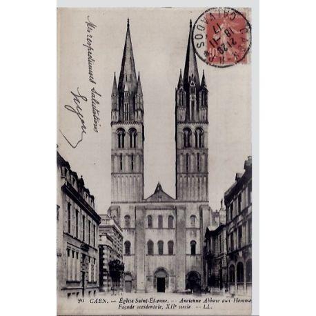 Carte postale 14 - Caen - Eglise Saint-Etienne - Ancienne Abbaye aux hommes - Facade occid...