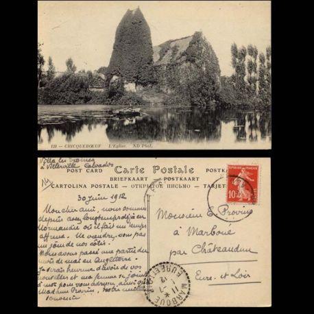 Carte postale 14 - Cricqueboeuf - Eglise - Etang - barque
