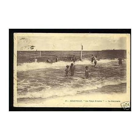 Carte postale 14 - Deauville - La plage fleurie - La baignade