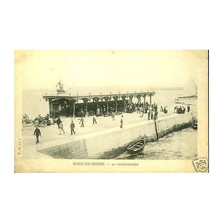 Carte postale 14 port en bessin la poissonnerie - Poissonnerie port en bessin ...