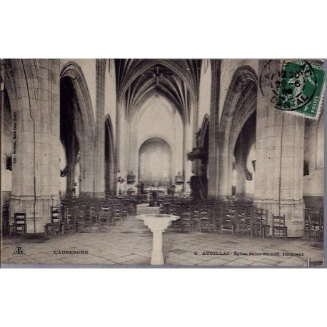 Carte postale 15 - Aurillac - Eglise Saint-Geraud - interieur - Voyage - Dos divise...