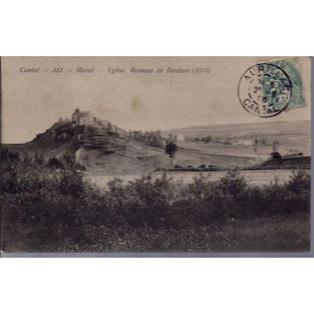 Carte postale 15 - Cantal - Murat - Eglise Romane de Bredons - Voyage - Dos divise...