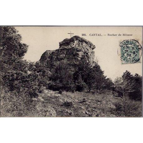 Carte postale 15 - Cantal - Rocher de Mezane - Voyage - Dos divise...