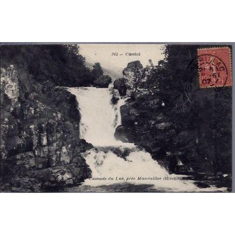 Carte postale 15 - Cascade du Luc, pres Mandailles - Voyage - Dos divise...