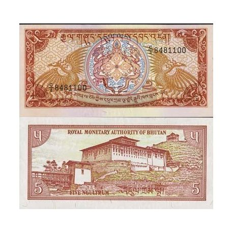 Billet de collection Bhoutan Pk N° 14 - 5 Ngultrums