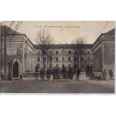 Carte postale 16 - Angouleme - Caserne St-Roch- Voyage - Dos divise...