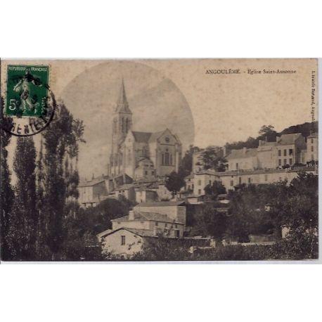 Carte postale 16 - Angouleme - Eglise Saint-Ausonne- Voyage - Dos divise...
