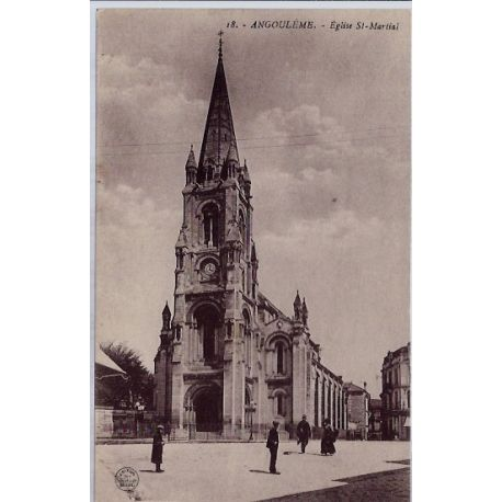 Carte postale 16 - Angouleme - Eglise St Martiai- Non voyage - Dos divise...