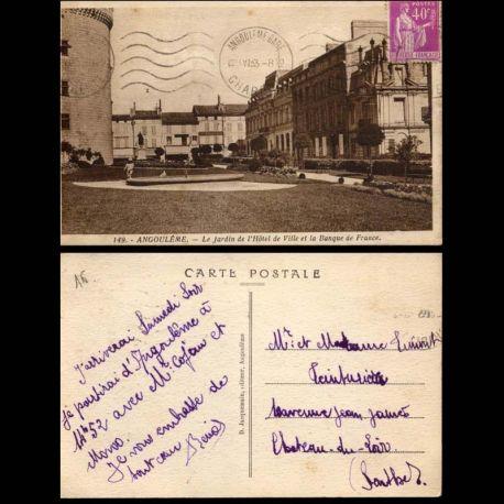 Carte postale 16 - Angouleme - Jardin de l'Hotel de ville et banque de France