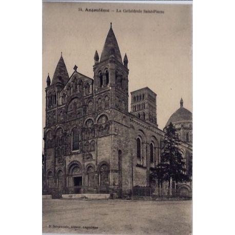 Carte postale 16 - Angouleme - La cathedrale Saint-Pierre - Voyage - Dos divise...
