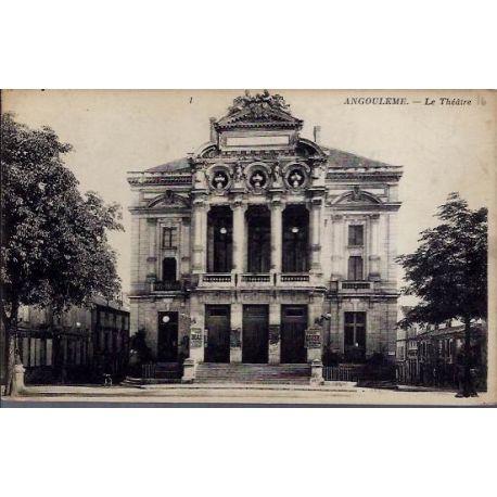Carte postale 16 - Angouleme - Le theatre - Voyage - Dos divise