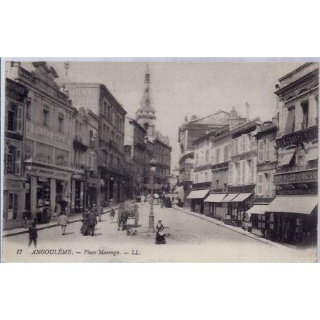 Carte postale 16 - Angouleme - Place Marengo - Voyage - Dos divise...