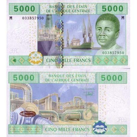 Billets collection Afrique Centrale Centrafrique Pk N° 309 - 5000 Francs