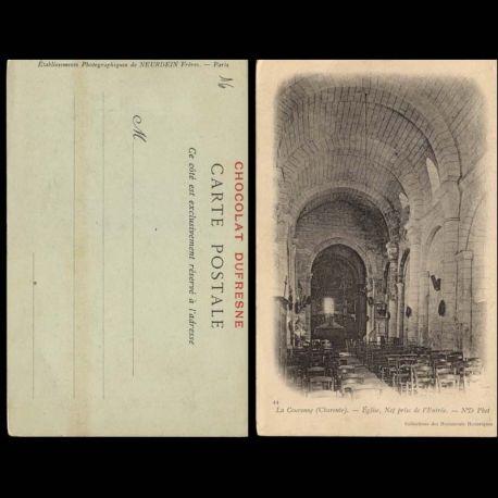 16 - La Couronne - Eglise - Nef prise de l'entree - Chocolat Dufresne