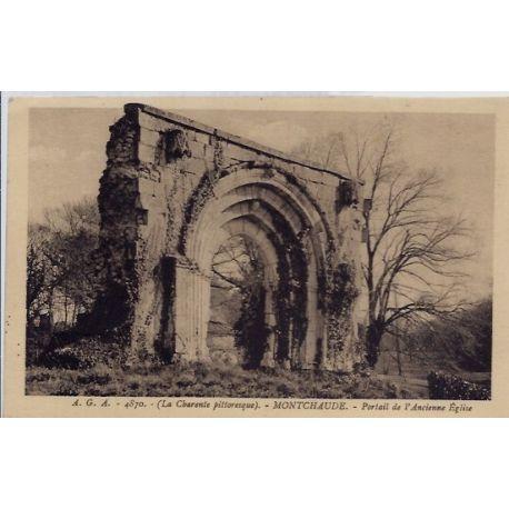16 - Montchaude - Portail de l'ancienne eglise - Voyage - Dos divise...