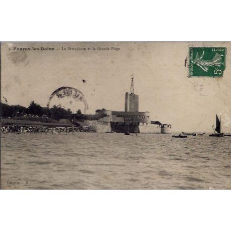 17 - Fouras-les-Bains - Le semaphore et la grande plage - Voyage - Dos divi...