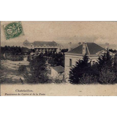 17 - Chatelaillon - Panorama du casino et de la poste - Voyage - Dos divise...