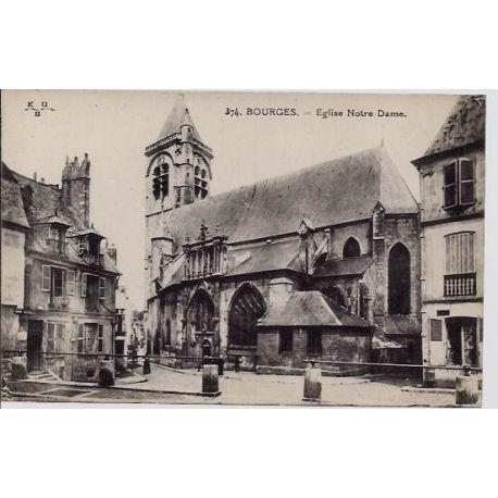Carte postale 18 - Bourges - Eglise Notre Dame - Voyage - Dos divise