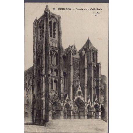Carte postale 18 - Bourges - Facade de la cathedrale - Voyage - Dos divise...
